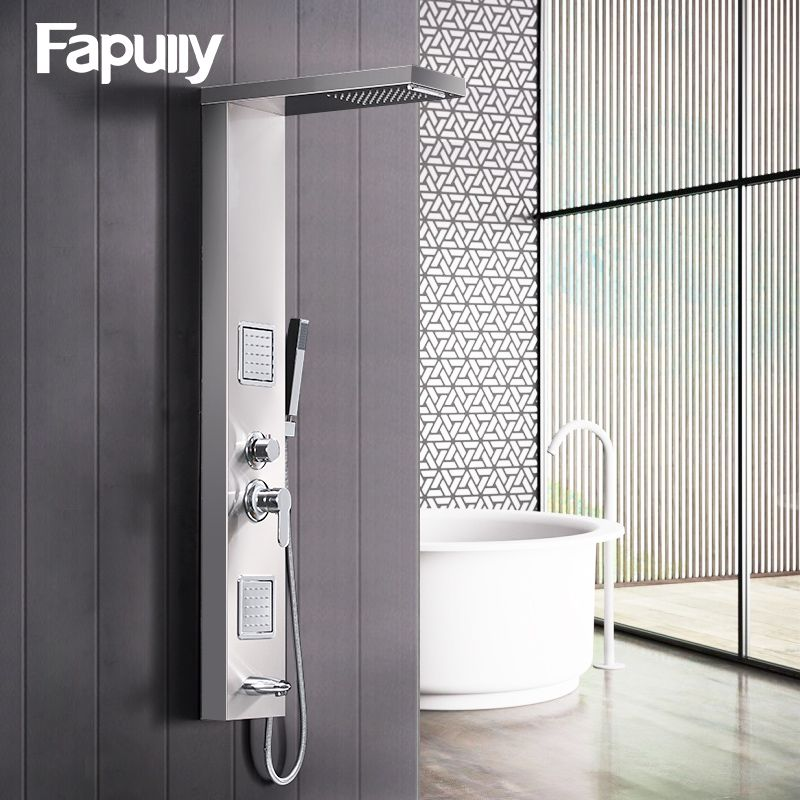 Fapully Rainfall Shower Panel Rain Brushed Nickel With Body Massage System Faucet with Jets Stainless Steel Hand Shower Set