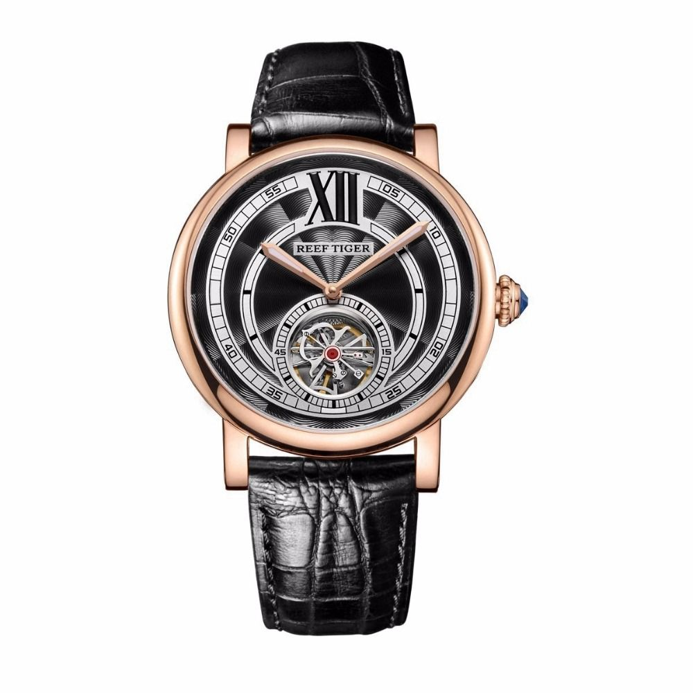 Reef Tiger/RT Luxury Casual Watches for Men Rose Gold Genuine Leather Strap Tourbillon Automatic Men Watches Fashion RGA192