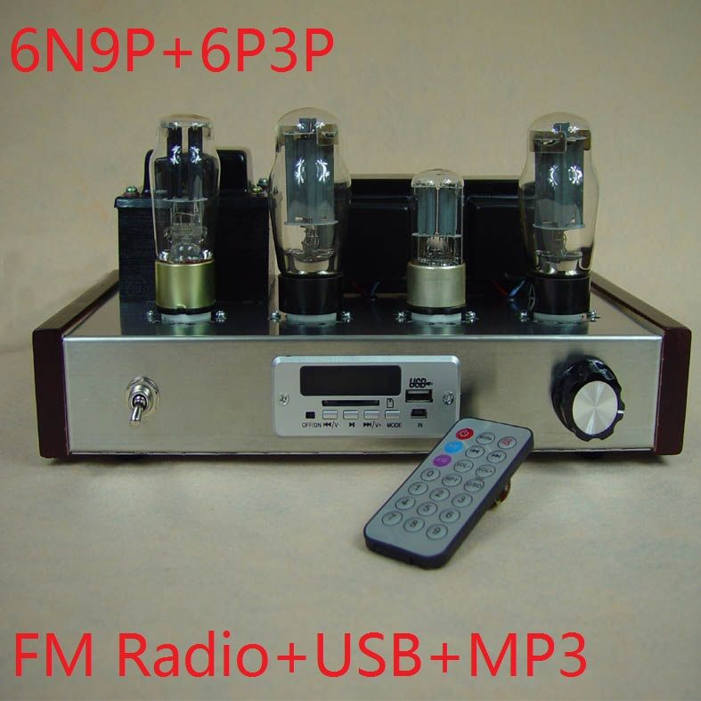 2017 New Nobsound special offer FM radio receiving Input USB+MP3 decoder 6N9P+6P3P tube amplifier DIY Kits 7W+7W Remote control