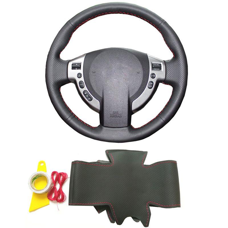 Black genuine leather hand sewing DIY braid steering wheel cover for Nissan Qashqai J10 J11 X-Trail NV200 Rogue car accessories