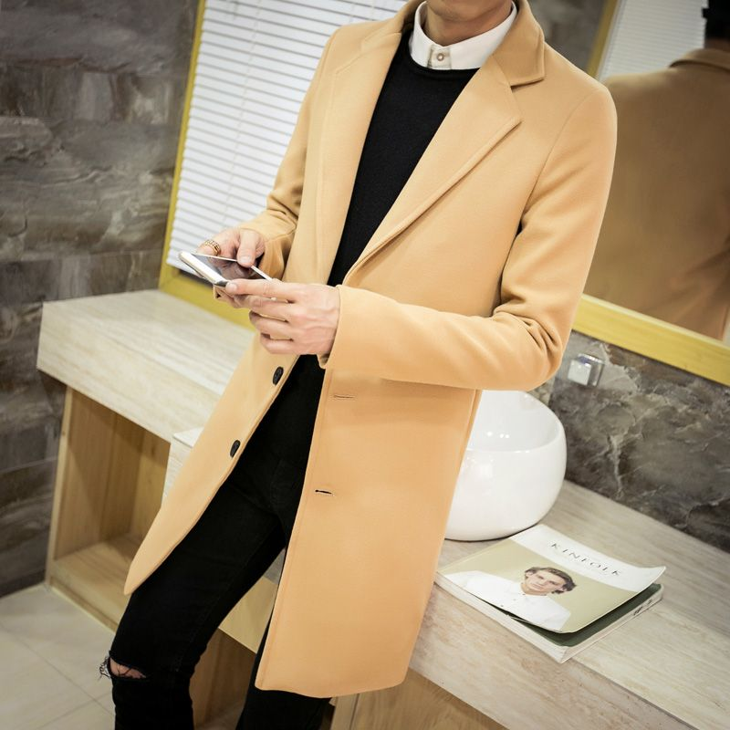 Winter men's tops clothing brand fashion windbreaker new society suitable coat trench coat men solid color Large size Coat M-5XL