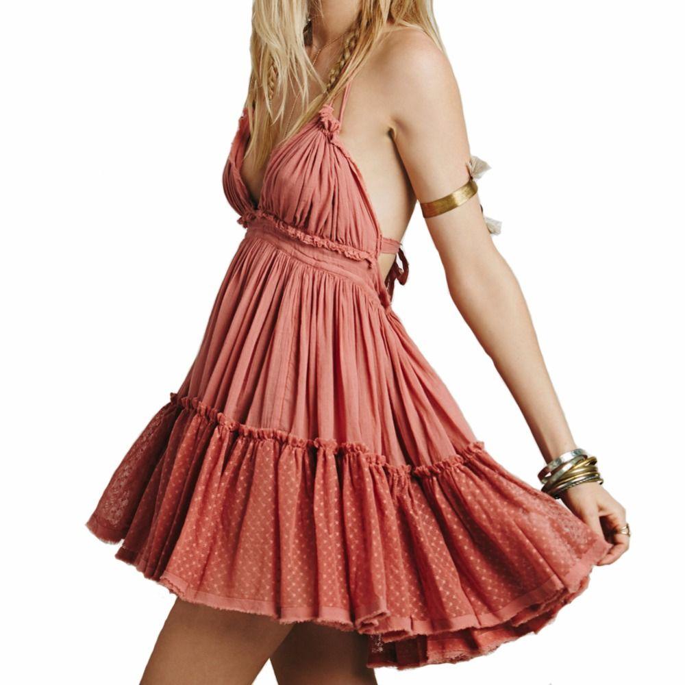 BellFlower 2018 Summer Bohemian Women Mini Dress Backless Beach Dress Holiday Boho Strapless Sexy Ball Gown Hippie Chic Dress