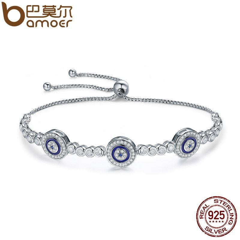 BAMOER New Arrival Genuine 925 Sterling Silver <font><b>Luxury</b></font> Round Blue Eyes Clear Cubic Zircon Crystal Tennis Bracelet Jewelry SCB002