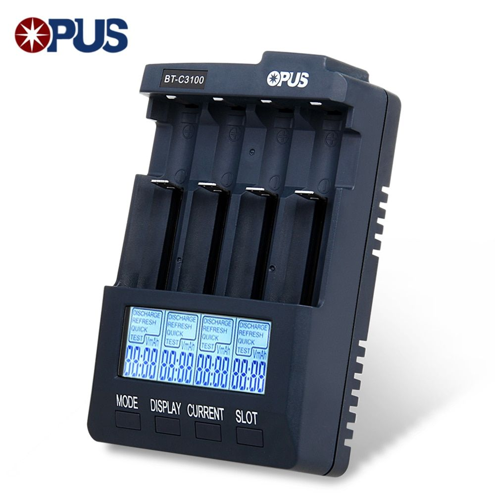 Original Opus BT-C3100 V2.2 Digital Intelligent 4 Slots LCD Battery Charger For Li-Ion <font><b>NiCd</b></font> NiMh Rechargeable Batteries Charging