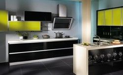 Ручка Бесплатная кухонной мебели high gloss черный и желтый