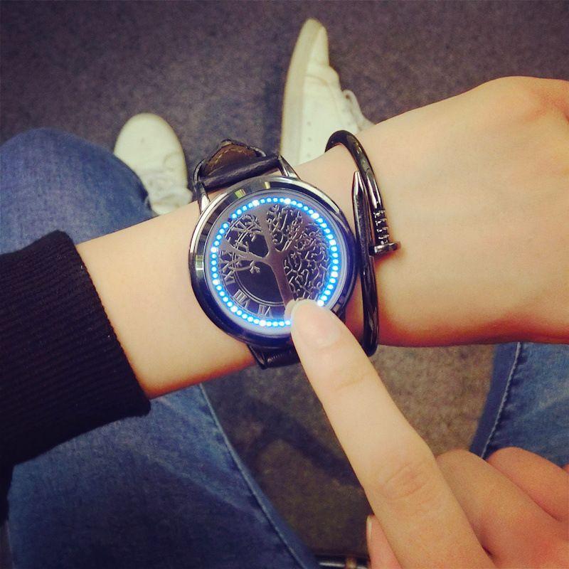 Concepto creativo de personalizado inteligente de alta tecnología redonda con un simple LED relojes hombres y mujeres reloj