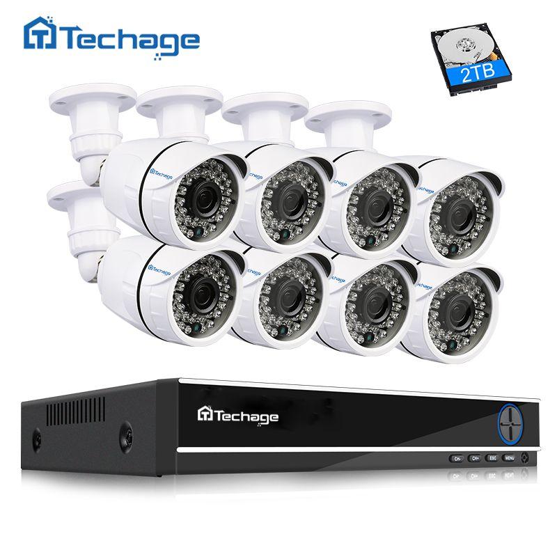 Techage 8CH 1080P HDMI CCTV System AHD DVR 8PCS 2.0MP 1080P HD IR Outdoor Security Camera P2P Video Surveillance Kit 2TB HDD