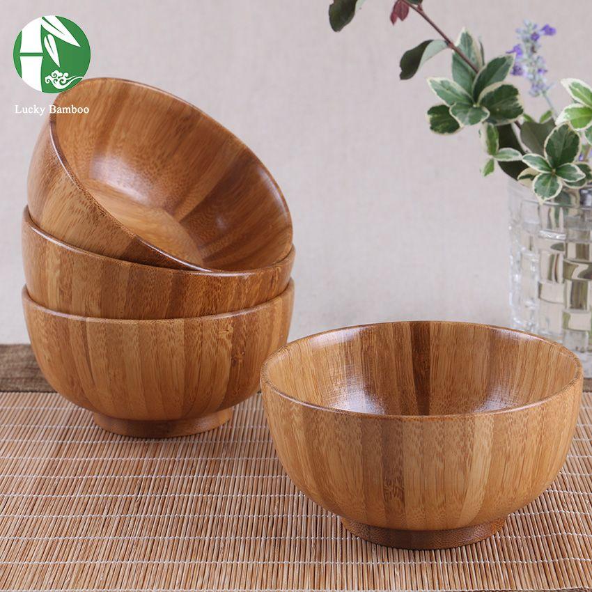 Naturel En Bois Bol Chinois Contenants Alimentaires Bambou Vaisselle Cuisine Mélange Bol Bol de Soupe de Nouilles de Riz Dîner Plats Pour Les Enfants