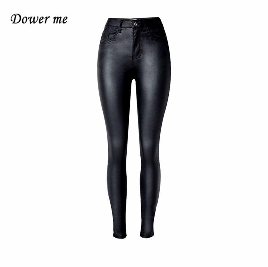 Mode femmes solide noir taille haute élastique crayon pantalon Sexy serré PU revêtement imiter pantalon en cuir YN291