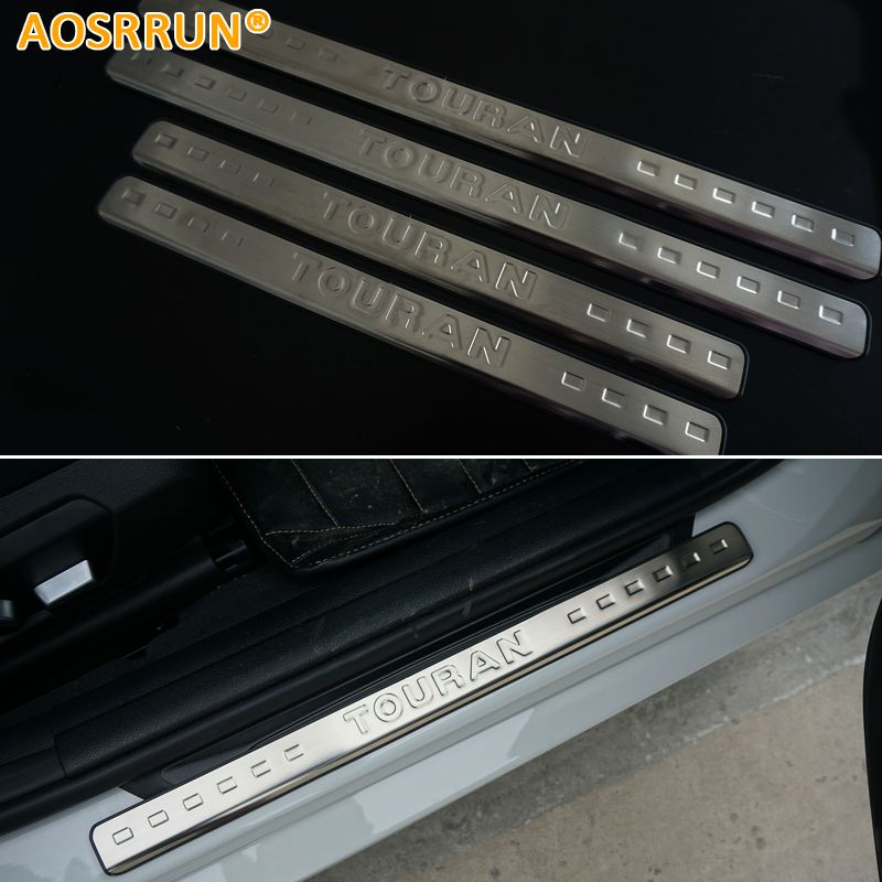AOSRRUN For VW Volkswagen Touran 2004-2013 Stainless steel scuff plate door sill Car-Styling Car Accessories