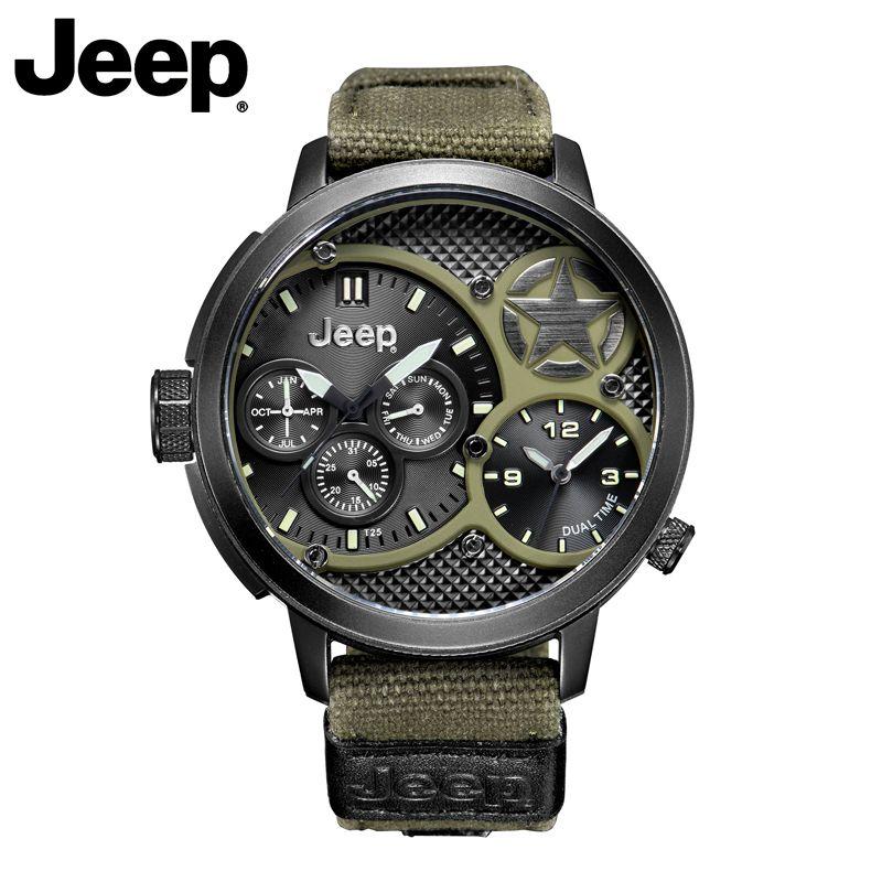 Jeep Original Männer Uhren Militär Outdoor Sport Quarz Grün Cavas Uhren Top Marke Wasserdicht Luxus Uhren JP15203