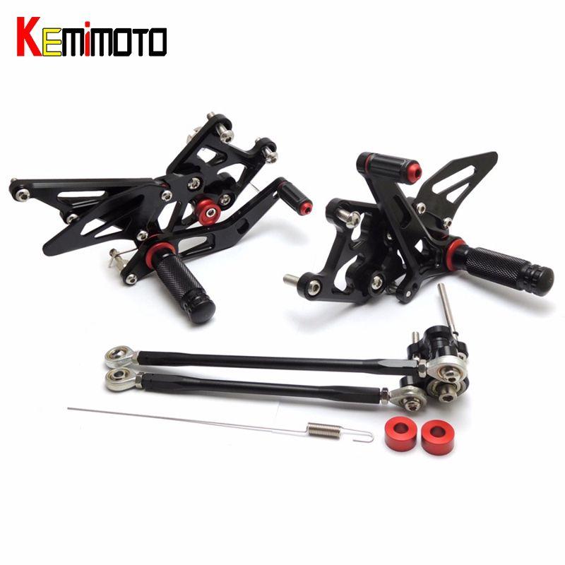KEMiMOTO 2007-2012 CBR600RR CNC Adjustable Rearsets Foot Rest For Honda CBR 600 RR 2007 2008 2009 2010 2011 2012 7075 Aluminum