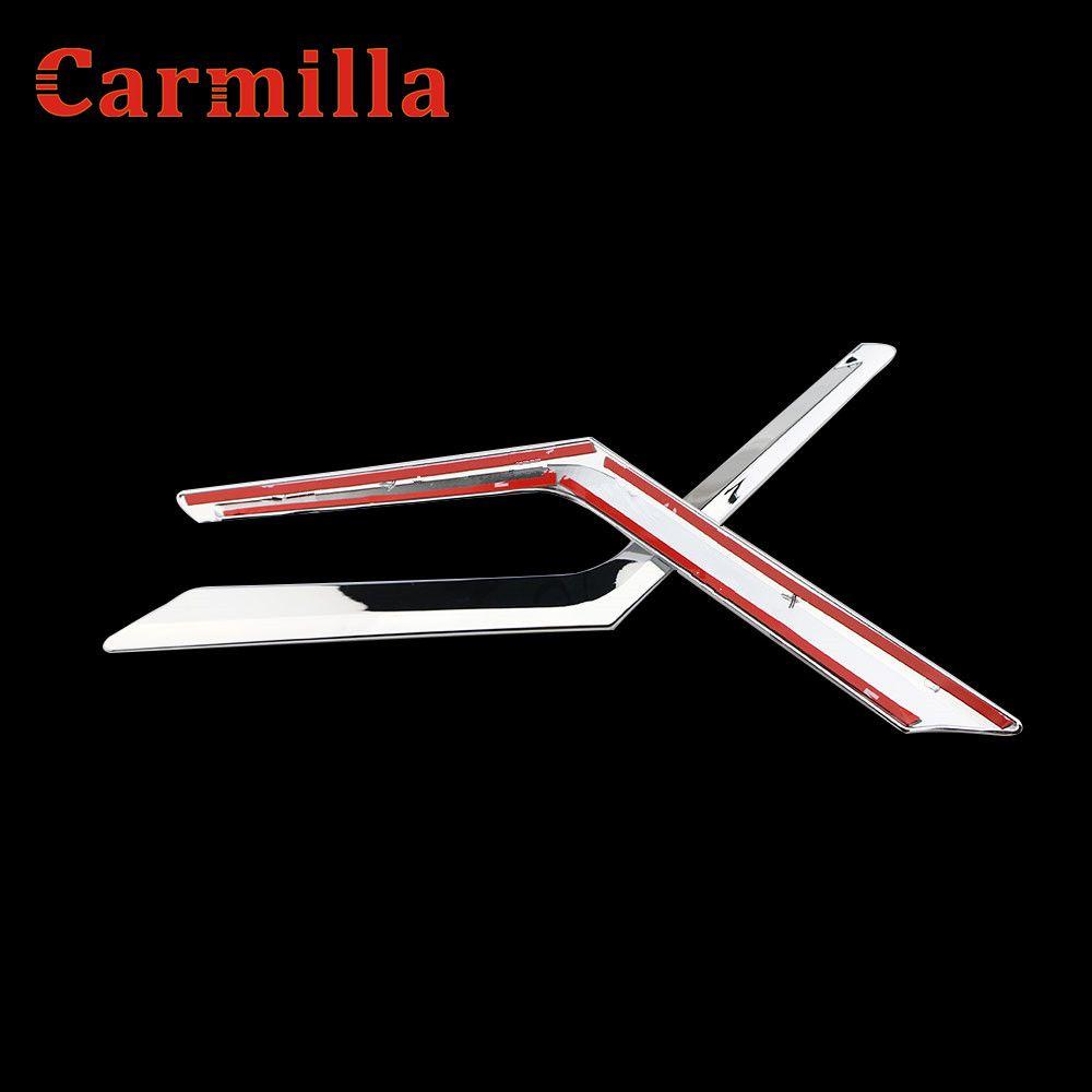 Carmilla Chrom Kühlergrill Dekoration Abdeckung Trim Aufkleber für Nissan x-trail X Trail Xtrail Rogue T32 2013-2016 zubehör