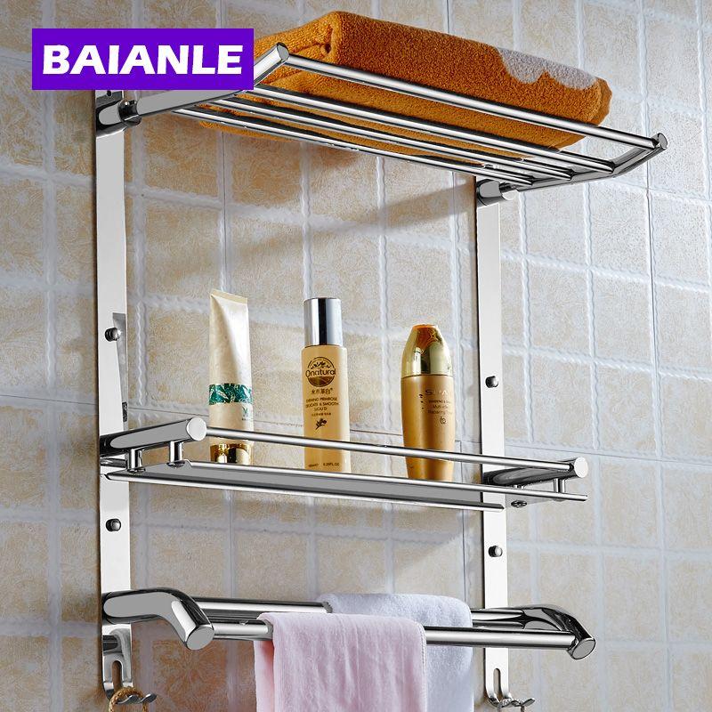 Wandhalterung Edelstahl 2 Schichten Ablagekorb Duschbad Bad Handtuchhalter Seifenschale Shampoo Badezimmer Regale