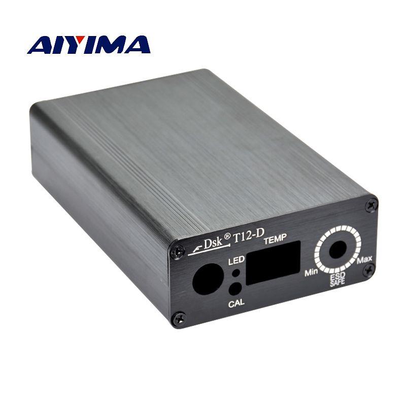 Aiyima T12 цифровая паяльная станция Утюг алюминиевый корпус с Мощность IEC разъем переключатель для DIY