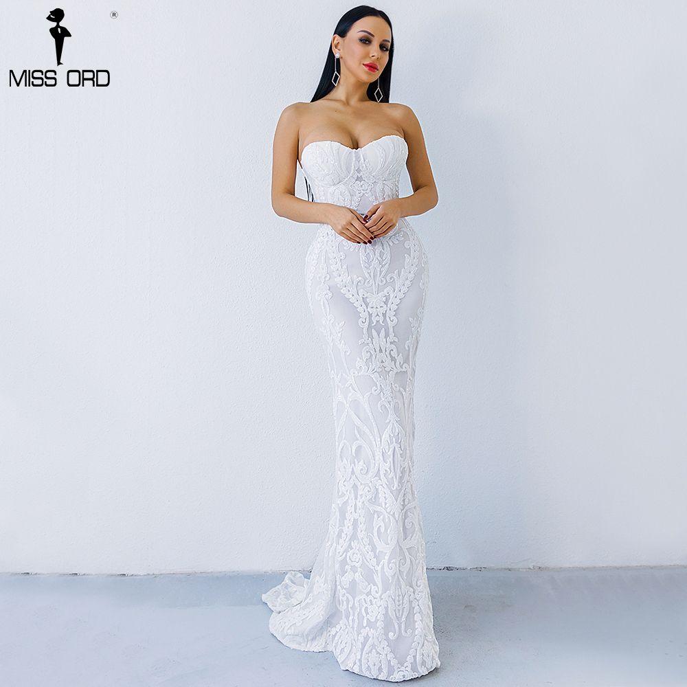 Missord 2018 Sexy New Bra Off Shoulder Retro Geometry Sequin Female Dresses Floor Length Party Elegant Dress FT8888-1