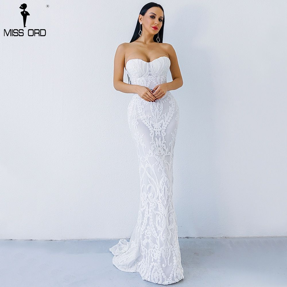 Missord 2018 Sexy New Bra Off Shoulder Retro Geometry Sequin Female Dresses Floor Length Party Elegant Dress FT8888-1