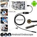 JCWHCAM 5.5mm Lens Android OTG USB Endoscope Camera 2M Smart Android Phone USB Borescope Inspection Snake Tube Camera 6LED
