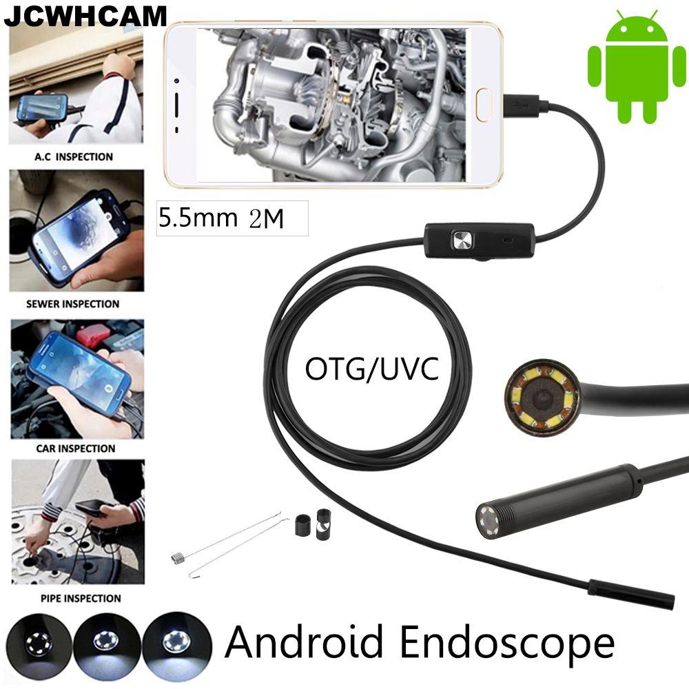 JCWHCAM 5.5mm Lentille Android OTG USB Endoscope Caméra 2 M Intelligent Android Téléphone USB Endoscope D'inspection de Serpent Tube Caméra 6LED