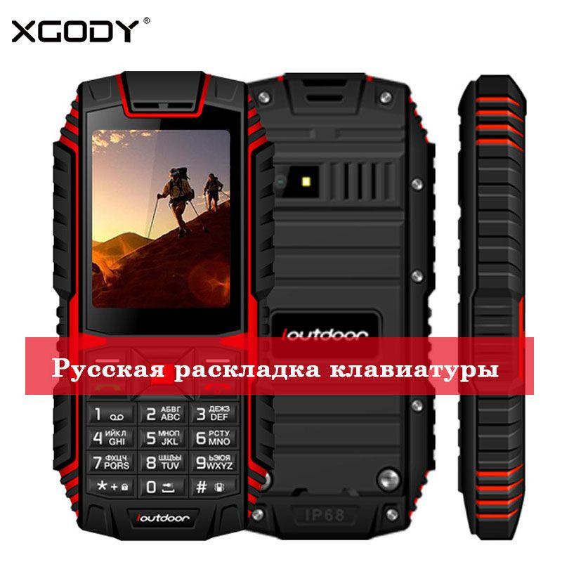 XGODY ioutdoor T1 2G <font><b>Feature</b></font> Phone IP68 Shockproof cep telefonu 2.4''128M+32M GSM 2MP Back Camera FM Telefon Celular 2G 2100mAh