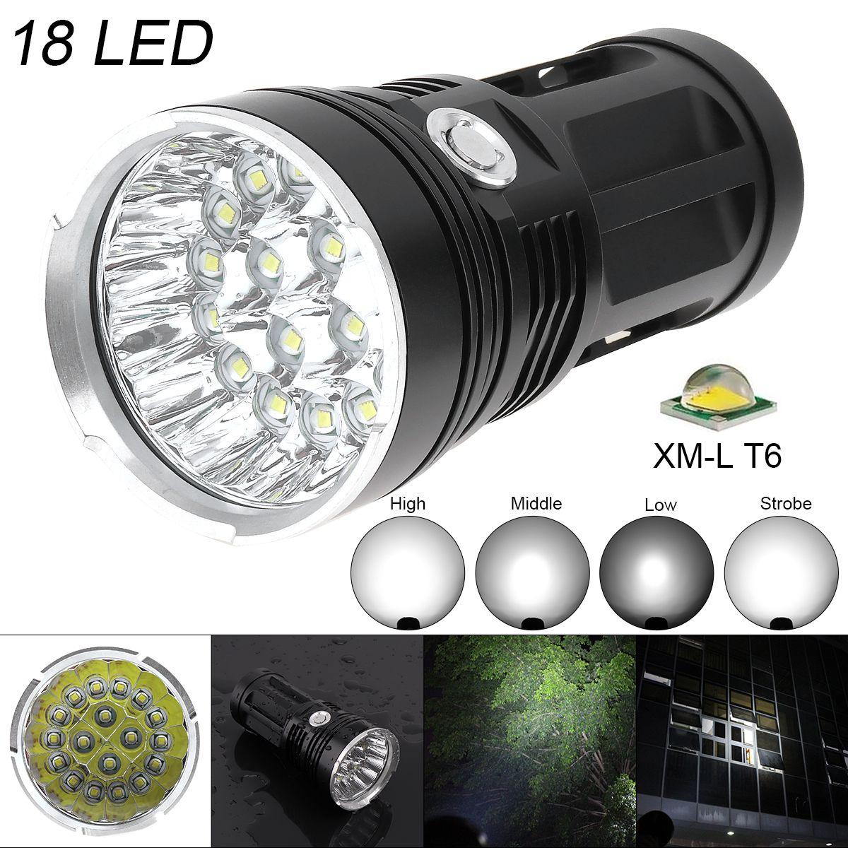 LED Super Lumineux lampe de Poche Étanche Torche 18x XM-L T6 LED 5400 Lumens En Aluminium Flash Lampe pour Randonnée/Pêche