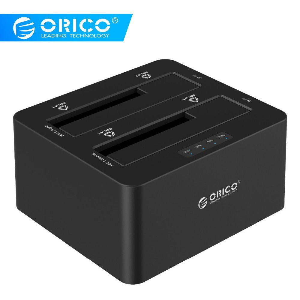 ORICO USB 3.0 à SATA boîtier de disque dur double baie externe HDD Station d'accueil pour 2.5 3.5 HDD/SSD duplicateur Clone fonction