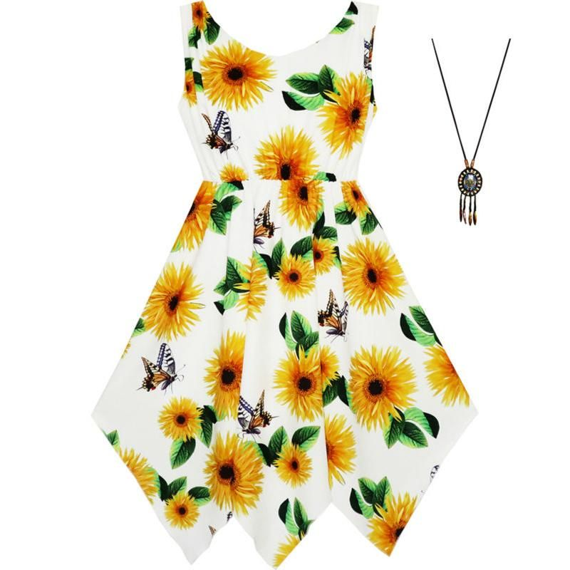 Sunny Fashion Girls Dress Sunflower Butterfly Hanky Hem Party Beach Necklace Sundress 2018 Summer Princess Wedding Size 7-14