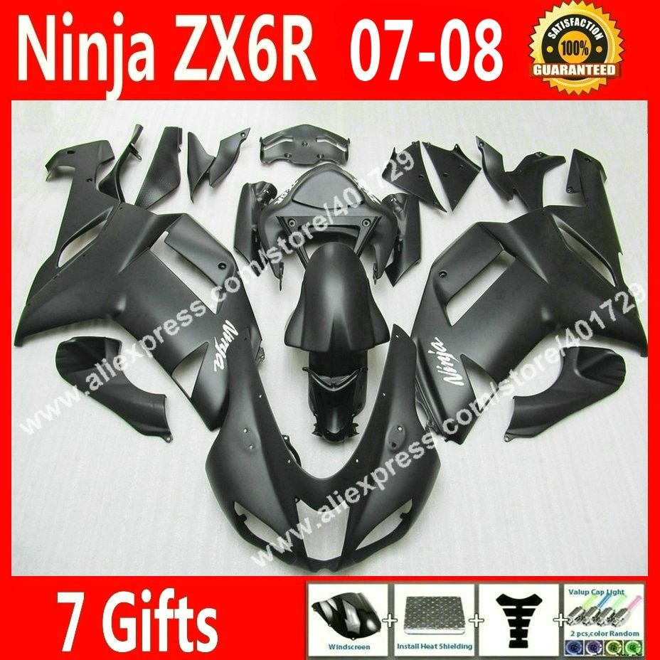 Free custom Fairings for 2007 2008 bodywork Kawasaki ZX6R Ninja 636 fairing kits 07 08 new black bodywork DK98