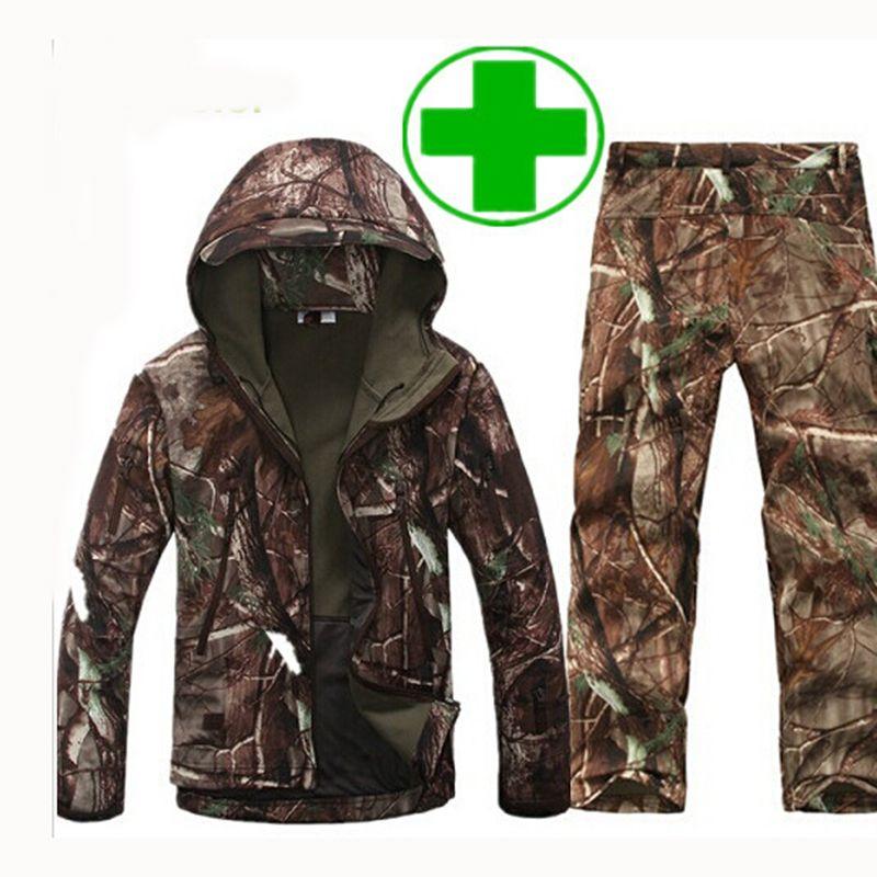 TAD Taktische Männer Armee Jagd Wandern Angeln Erkunden Kleidung Anzug Camouflage Shark Haut Military Wasserdicht Mit Kapuze Jacke + Hosen