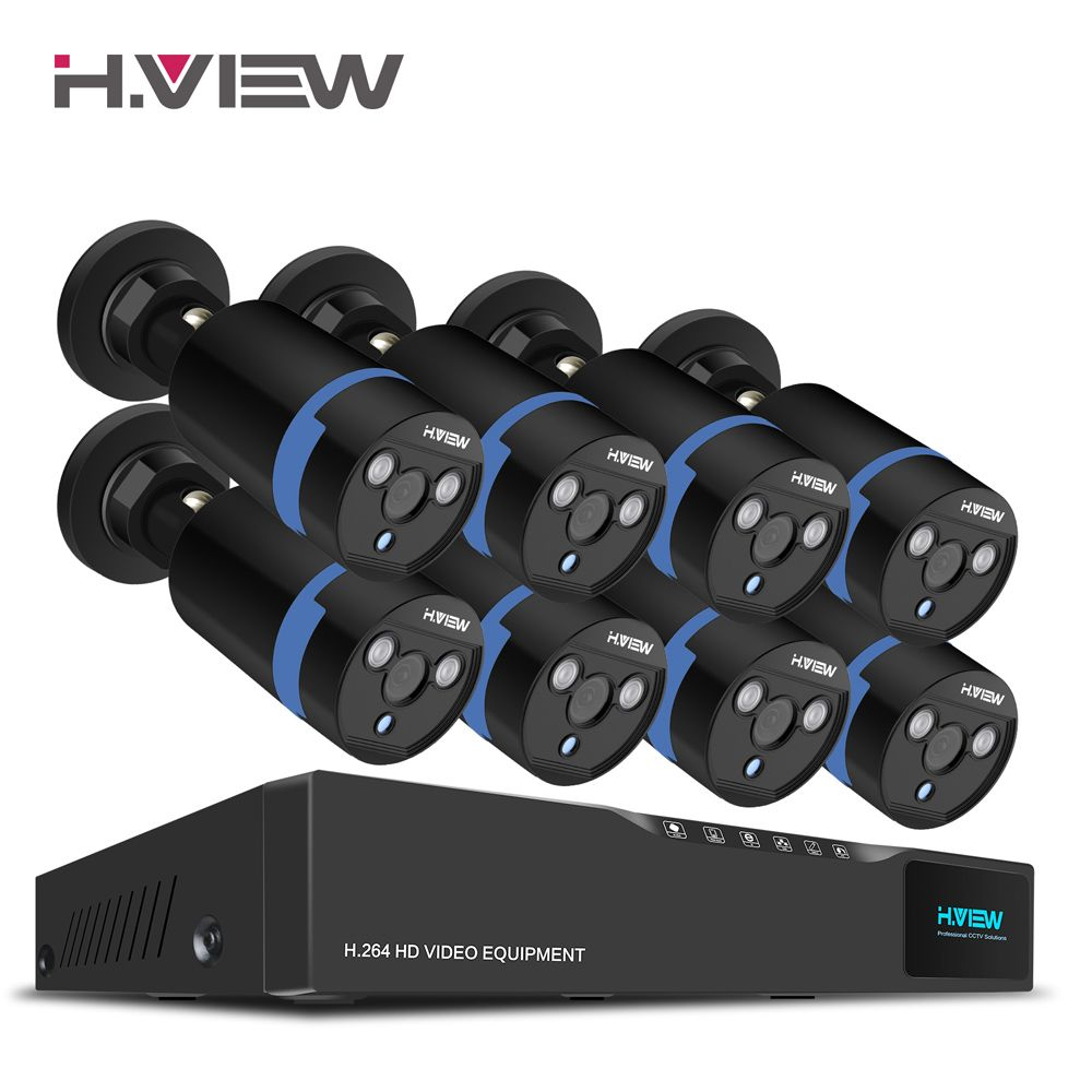 H.View 16CH Surveillance System 8 1080P Outdoor Security Camera 16CH CCTV DVR Kit Video Surveillance iPhone Android Remote View