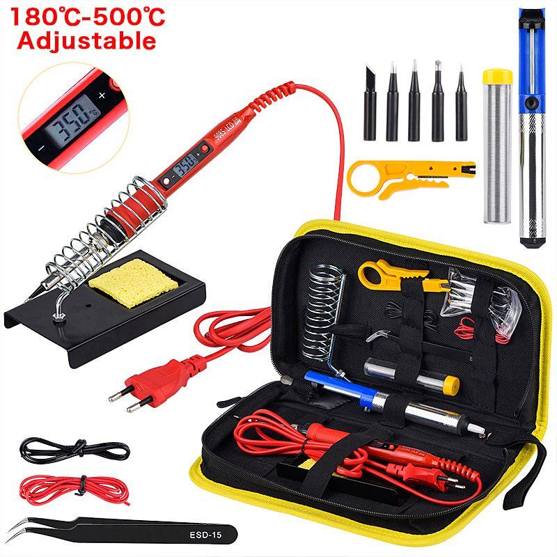 JCD Soldering iron kit adjustable temperature 220V 80W LCD solder welding tools Ceramic heater soldering tips Desoldering Pump