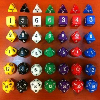 Polyhedral dice (D4+ D6+ D8+ D10(1-10) +D12+ D20 =6 dice)  Life calculator Game of dice Plastic accessories Digital dice