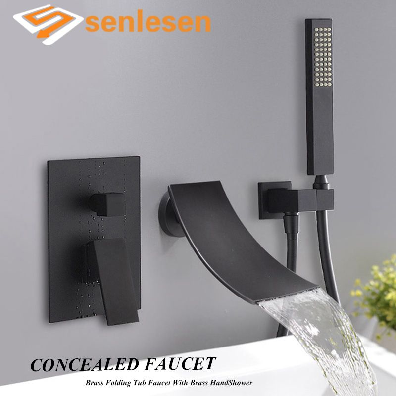 Senlesen Basin Faucet Black Brass Waterfall Tub Spout Wall Mount Single Handle Hot and Cold Water Mixer Tap W/ Hand Shower