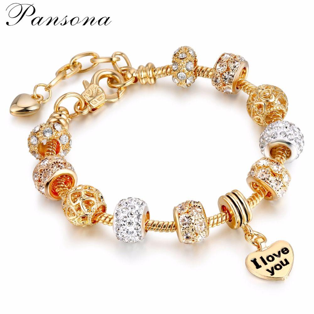 Pansona 925 Cristal Coeur Charme Bracelets et Bracelets Or Bracelets pour les Femmes Bijoux Pulseira Feminina De Noël cadeau