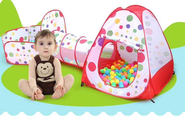 3 in 1 Child Pool-Tube-Teepee Children Playing Toy <font><b>Tent</b></font> Portable Outdoor Game <font><b>Tent</b></font> Kids/Baby Play Gaming Toy House without balls
