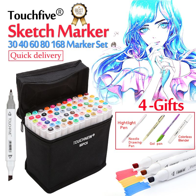 Touchfive Markers 30/40/60/80/168Colors Art Marker Set Oily Alcohol Based Sketch Markers Pen For Artist Drawing Manga Animation