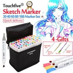 Touchfive Spidol 30/40/60/80/168 Warna Seni Marker Set Berminyak Berbasis Alkohol Sketsa Spidol pena Untuk Artis Menggambar Manga Animasi