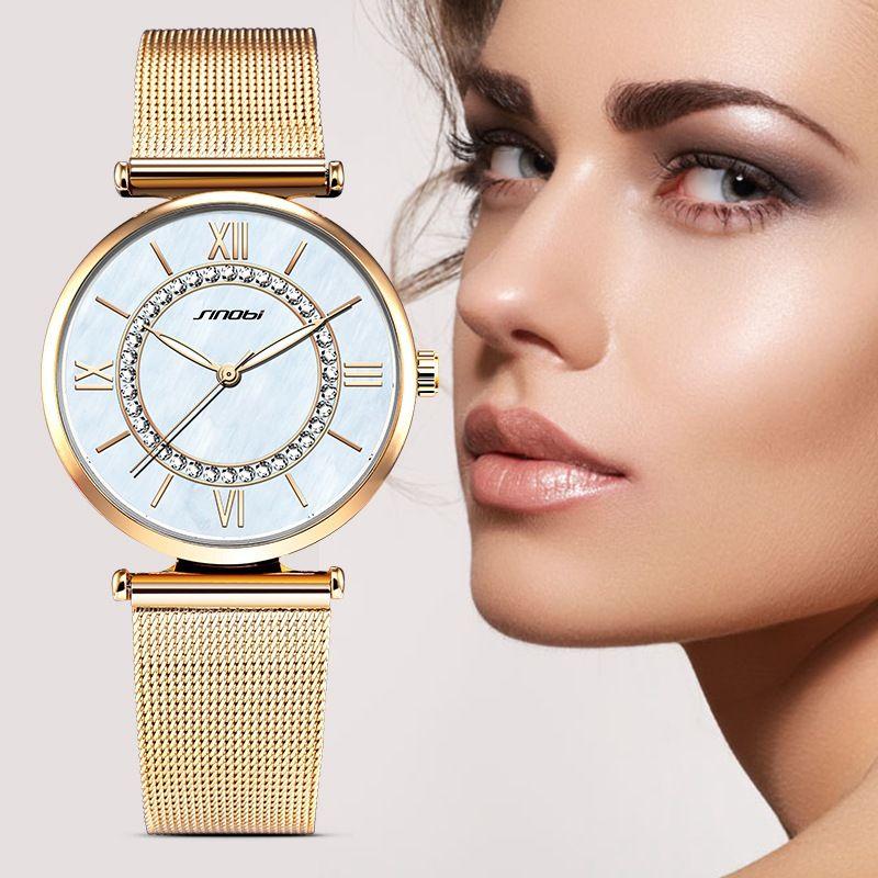 SINOBI Fashion Bling Quartz Watches Women's Gold Top Luxury Brand Diamond Clock Female Geneva Quartz Clock Ladies Wristwatch
