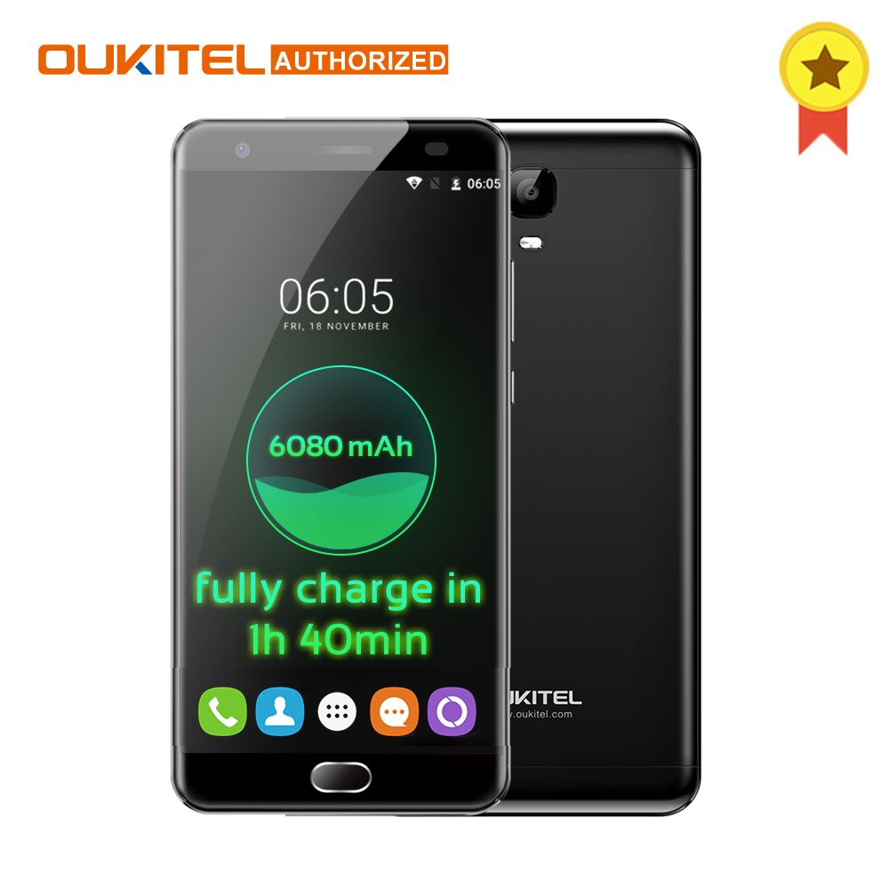 JET BLACK! OUKITEL K6000 Plus Android 7.0 4G Mobile Phone 5.5'' MTK6750T Octa Core 1.5GHz 4GB+64GB 8.0MP+16.0MP 6080mAh Touch TD