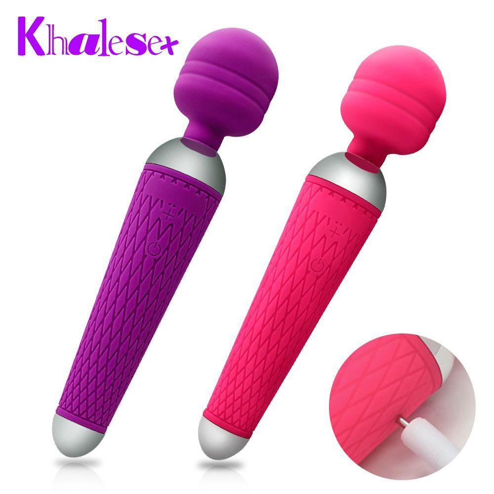 Khalesex vibrateurs clito oraux puissants pour femmes USB Charge AV baguette magique vibrateur masseur jouets sexuels pour adultes pour femme masturbateur