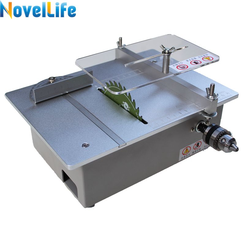 Multifunctional Mini Table Saw Woodworking Hobby Bench Saw Electric Polisher DIY Model Cutting Saw B10 Drill Chuck Dual Motor