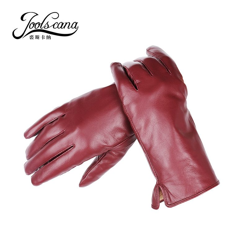 Joolscana leather gloves women  fashion  wrist  winter autumn made of  Italian imported genuine sheepskin mitten 2017 new