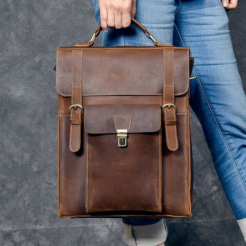 100% Genuine Leather Daypack Knapsack Men Shoulder Laptop Book Bags Vintage Travel Crazy Horse Cowhide Male Rucksack Backpack
