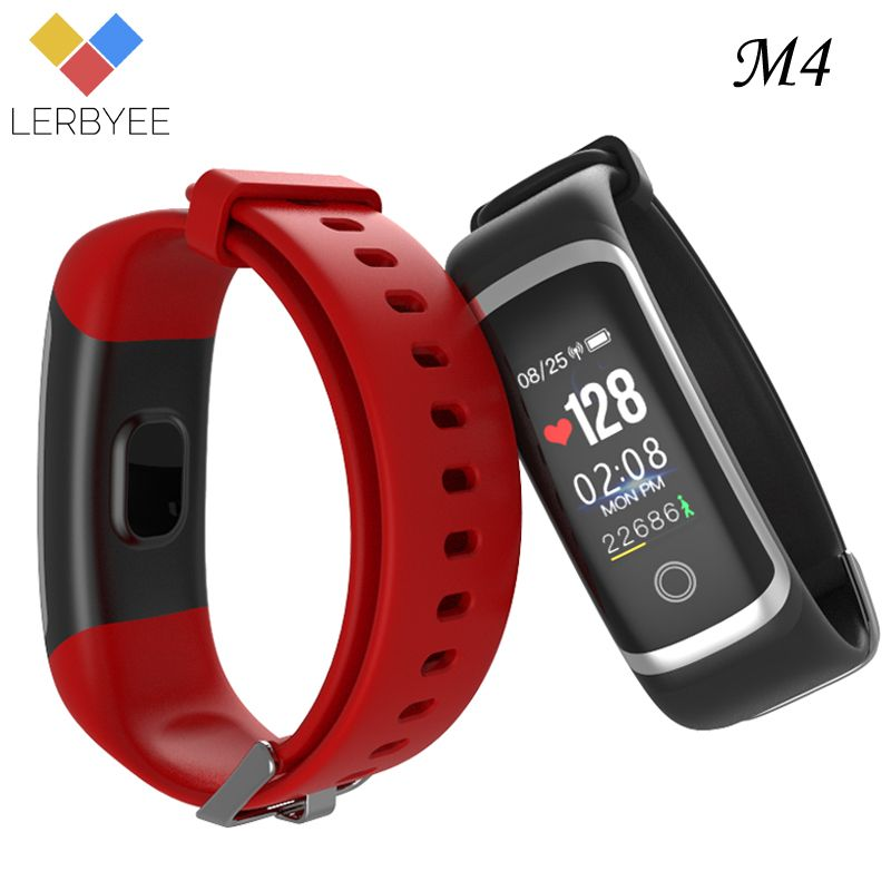 Lerbyee M4 Smart Bracelet Sleep Monitor Bluetooth Fitness Tracker Call Reminder Take Photos Sport Wristband for iOS Android