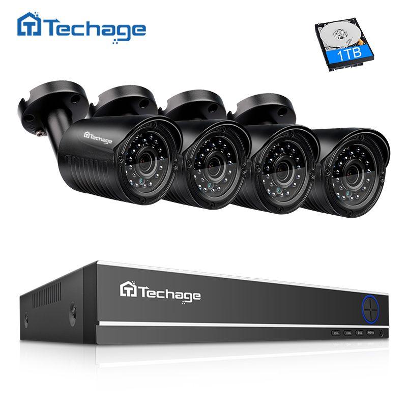 Techage 4CH 720P HDMI AHD DVR CCTV Security System 4PCS 1.0MP 1280TVL IR Outdoor Waterproof Camera P2P Video Surveillance Set