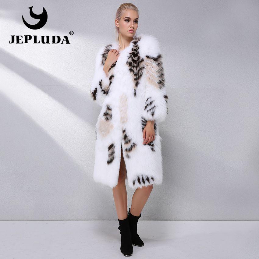 JEPLUDA Neue Wunderschöne Echt Fuchs Pelz Mantel Natürliche Fuchs Pelz Oberbekleidung Winter Frauen Echt Pelzmantel frauen Lange Natürliche fuchs Pelz Jacke