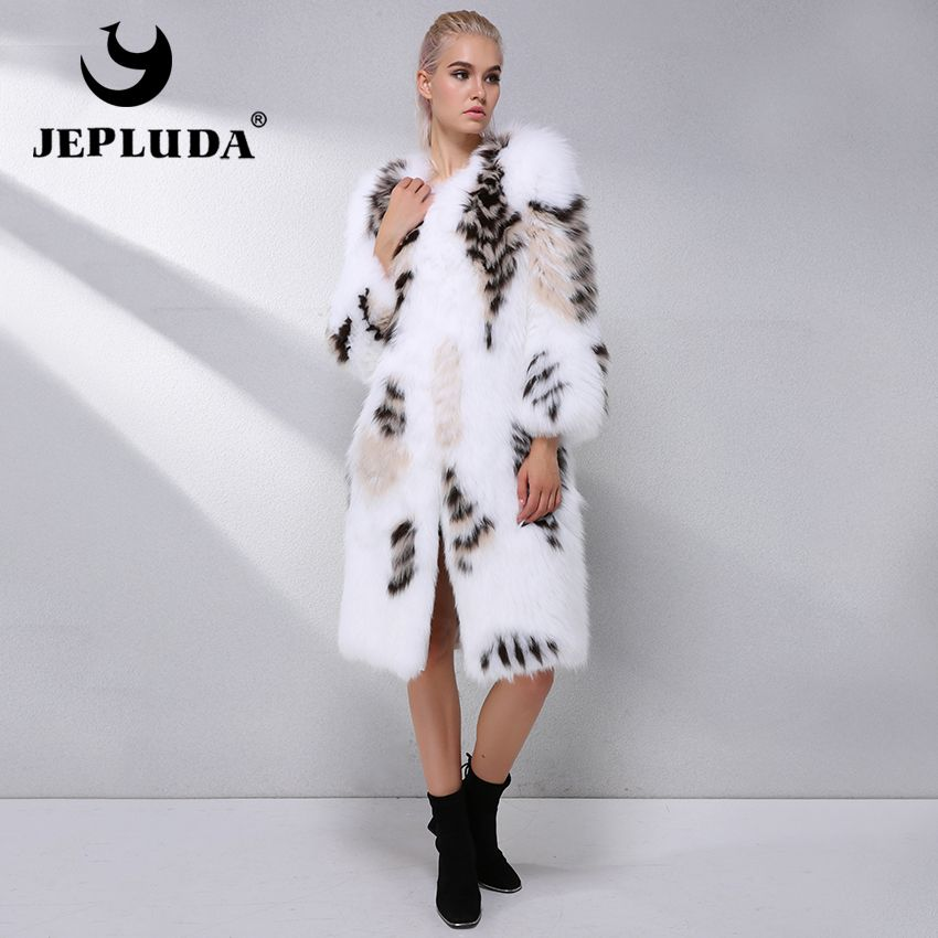 JEPLUDA New Gorgeous Real Fox Fur Coat Natural Fox Fur Outerwear Winter Women Real Fur Coat Women's Long Natural Fox Fur Jacket