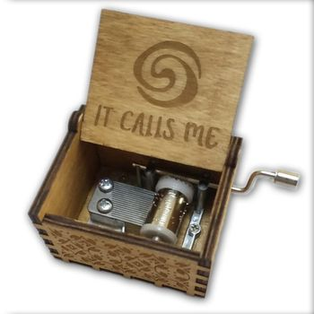 Moana It Calls Me Music Box Wooden Music Box wooden hand crank Hand-Crafted Island Princess Birch