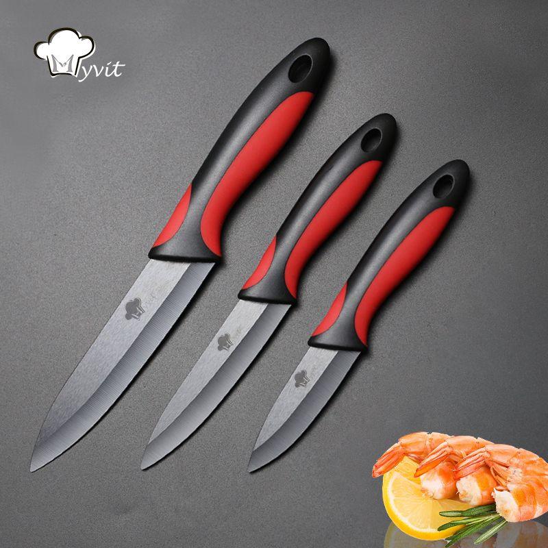Couteau céramique cuisine 3 4 5 pouces Set Paring tranchage couteaux utilitaires cuisine légume Fruit outil lame noire poignée antidérapante
