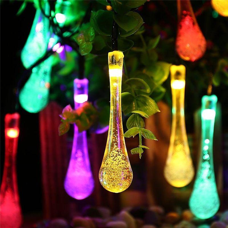 Ledertek Premium Quality 6m 30 LED Solar Christmas Lights 8 Modes Waterproof Water Drop Solar Fairy String Lights for Garden
